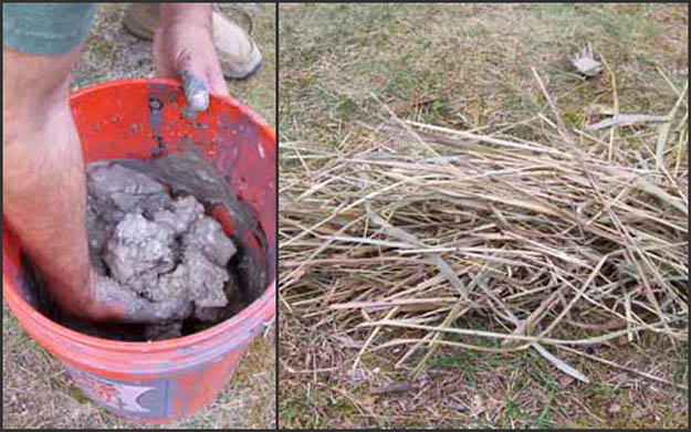 You will need a good kind of clay and some dry grass depending on the size of your project. Via practicalprimitive.com