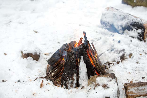 building a fire in winter