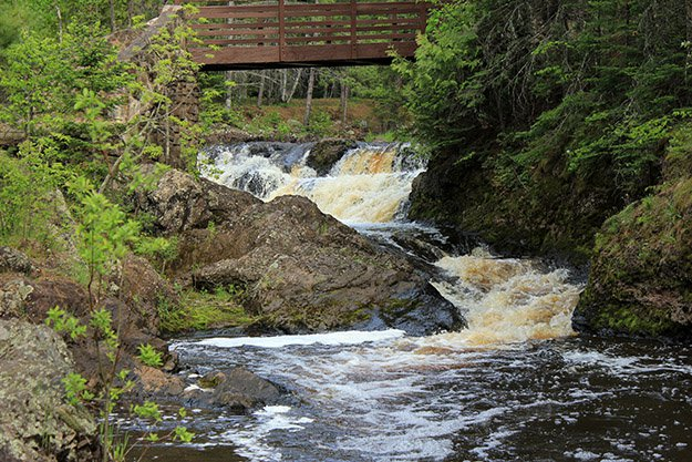 A river rushes through Amnicon Falls State Park, Wisconsin.