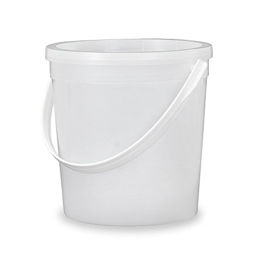 ¼ Gallon (32 oz.) Food Grade - Food Safe Round Plastic Bucket with Lid - Translucent - Recessed Lid - 5 Pack
