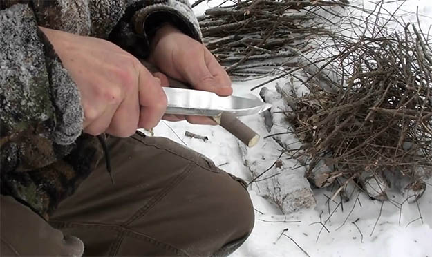 Make a Tripod for Campfire Cooking | How To Make Fire On Top Of Deep Snow