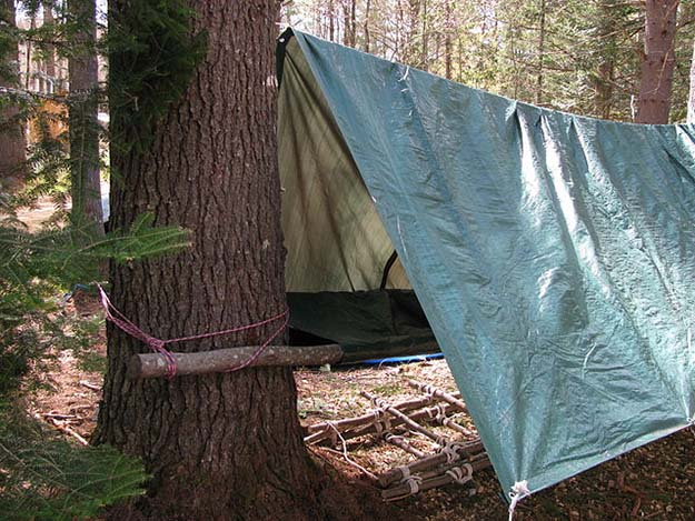 Pole Tarp And Rope Shelter | Survival Skills You Can Practice While Camping