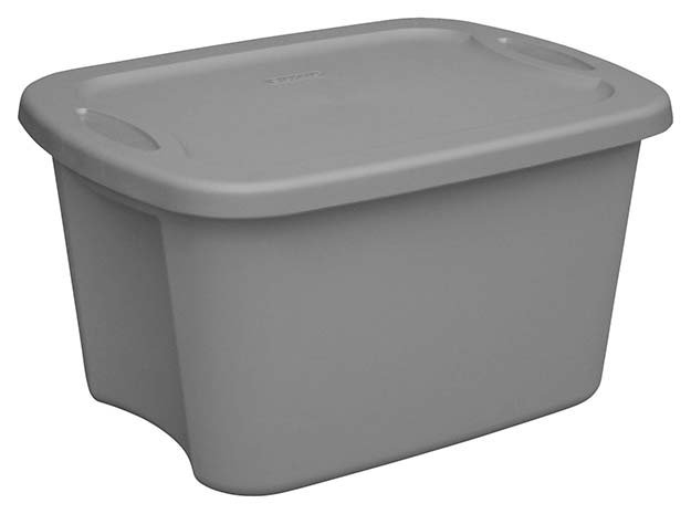 Gray plastic Tupperware bin to use for a hydroponics garden system