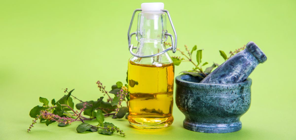Ayurvedic Tulsi oil in glass bottle | Ayurvedic Remedies for Better Health